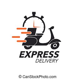 Express delivery icon concept. Scooter motorcycle with stop...