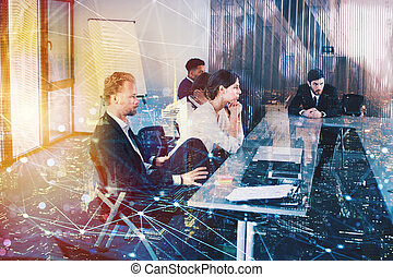 Businessperson in office with network effect. concept of...