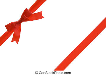 gift ribbon - red ribbon with red bow on gift