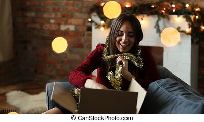 Christmas - Beautiful woman at Christmas Eve