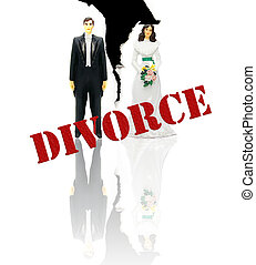 wedding couple figures with Divorce text in red
