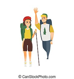vector flat man, woman hiking tourist - vector flat cartoon...