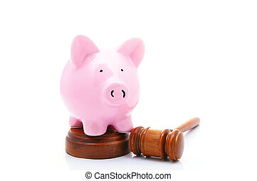 piggy bank and a legal gavel, on white