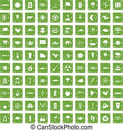 100 lotus icons set grunge green - 100 lotus icons set in...
