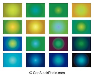 Set of gradient backgrounds. Blurred green shades. Vector illustration