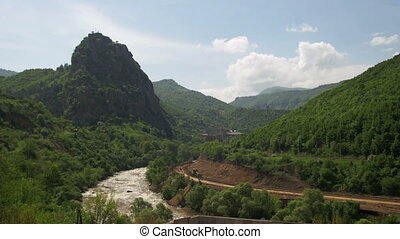 Landscapes of Mountains in Armenia. The Mountain River -...