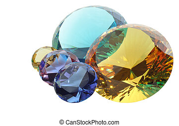 Diamonds with clipping path - Colorful diamonds on a white...