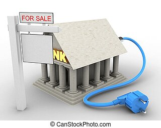 3d power cable - 3d illustration of Bank over white...