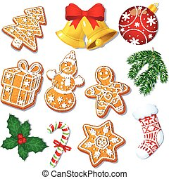 Set of Christmas gingerbread cookies, decorations - Set of...
