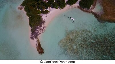 v05215 Aerial flying drone view of Maldives white sandy...