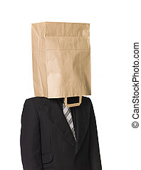Man with a paperbag over his head