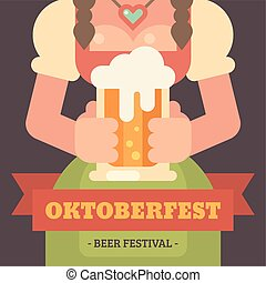 Oktoberfest flat illustration banner. Close up of a girl in dirndl dress holding a beer mug. Beer festival poster