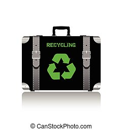 recycling symbol on travel bag vector illustration on white