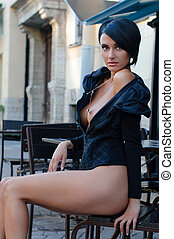 Woman in the cafe outdoors - Beautiful Woman with naked...