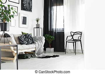 Black and white curtains - Window with black and white...
