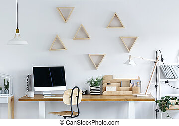 Wooden geometric frames on wall - Wooden geometric frames on...