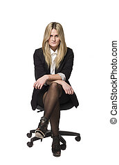 Woman on a office chair