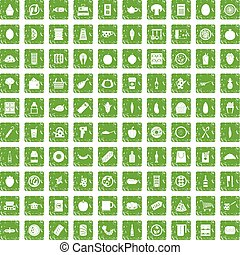 100 lunch icons set grunge green - 100 lunch icons set in...