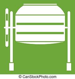 Concrete mixer icon green - Concrete mixer icon white...