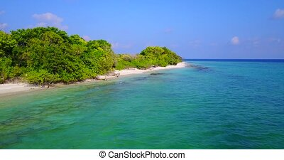 v05286 Aerial flying drone view of Maldives white sandy...