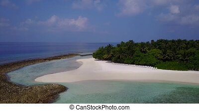 v05705 Aerial flying drone view of Maldives white sandy...
