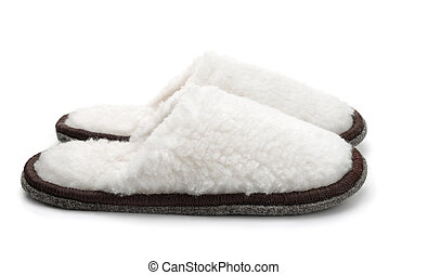 Soft fur slippers isolated on white