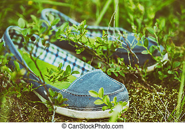 Moccasins in the grass - A pair of blue moccassin shoes in...