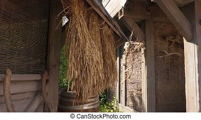 Cereals hanging near old building