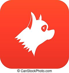 Pinscher dog icon digital red for any design isolated on...