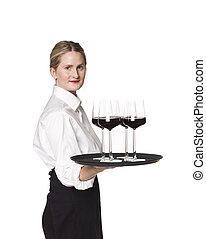 camarera, bandeja, copas