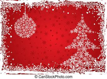 Christmas frame - Grunge Christmas frame with tree and...