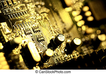 computer circuit board - Close view detail of a circuit...