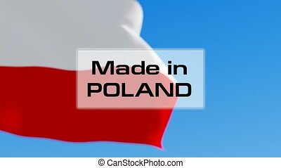 Made in Poland animated text in front of the Polish flag...
