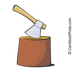 The axe is stuck in the stump. Color flat illustration...