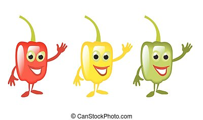 Sweet bell red, green, yellow pepper cartoon smiles and...