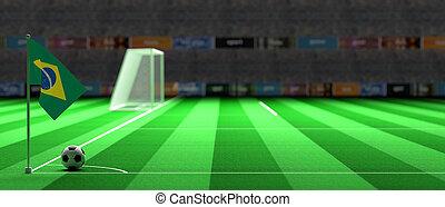 Brazil flag on a soccer field. 3d illustration - Brazil flag...