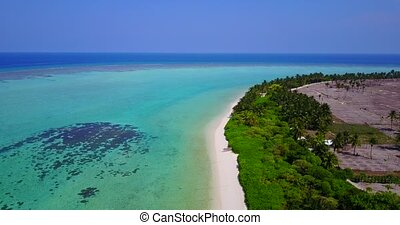 v05013 Aerial flying drone view of Maldives white sandy...