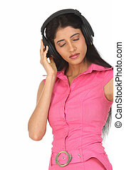 teenage girl with the head phones - teenage girl enjoying...