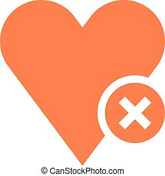 Flat heart icon favorite sign liked button with delete...