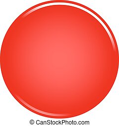 Red circle button blank web internet icon - Red glossy...