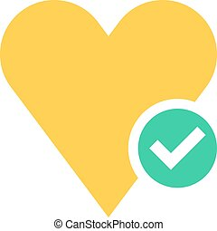 Flat heart icon favorite sign liked button with check mark...
