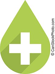 Green drop icon first aid sign - First aid drop green sign...