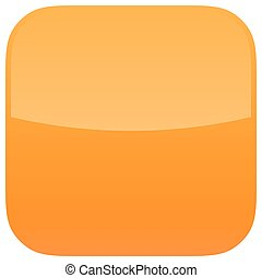 Orange glossy button blank icon square empty shape isolated...