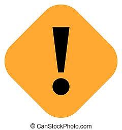 Orange rhomb exclamation mark icon warning sign - Flat style...