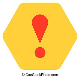 Yellow hexagon exclamation mark icon warning sign - Use it...