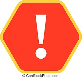 Red hexagon exclamation mark icon warning sign - Use it in...
