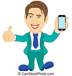 Men holds a smartphone - Smiling mature men in turquoise...