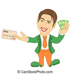 Men holds the and credit card - Smiling and joyful man holds...