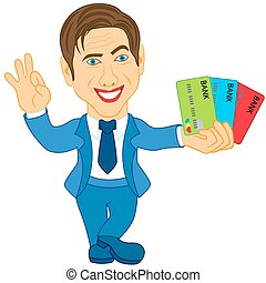 Men holds the credit cards - Smiling and joyful man holds...