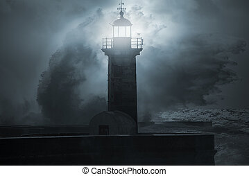 Lighthouse in a stormy night - Lighthouse in a stormy, dark...